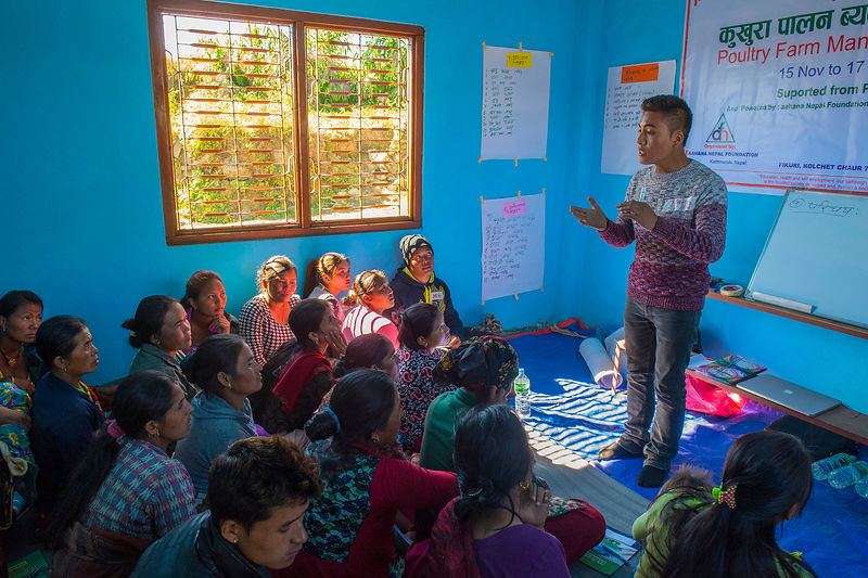 Nepal. District Nuwakot , Fikuri village on the mountain 1840m elevation, damaged by  earthquake 2015. PARTAGER DANS LE MONDE organises Health camp and various other activities for the villagers.  copyright:  fotoswiss.com/giancarlo cattaneo